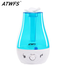 ATWFS 3L Air Humidifier Ultrasonic Aroma Diffuser Humidifier for home Essential Oil Diffuser Mist Maker Fogger LED Lamp(China)