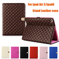 Luxury Sheep Diamond Grid Leather Stand Case For Apple iPad Air 2 ipad 6 Auto Sleep & wake up Protective Cover