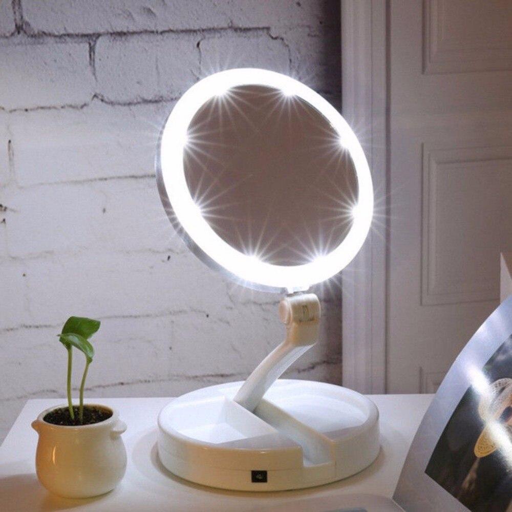 1 Set Tragbare Klapp Kosmetische Prinzessin Stil Spiegel 10x Vergrößerungs Ausgestattet Led-beleuchtung Make-up Spiegel 2-gesicht Make-up Lampe Xnj