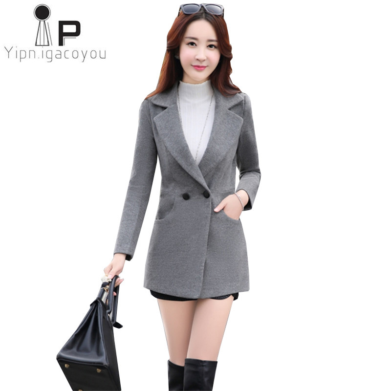 Fashion autumn winter women woolen coat 2018 Korean Plus size elegant red women wool blend coat New Double-breasted outerwear