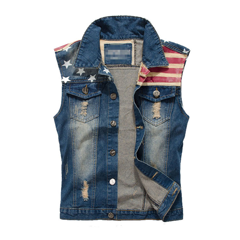 Men s Denim Vest Male Sleeveless Jeans Jackets America Flag Washed Jean Brand Clothing Man Cowboy