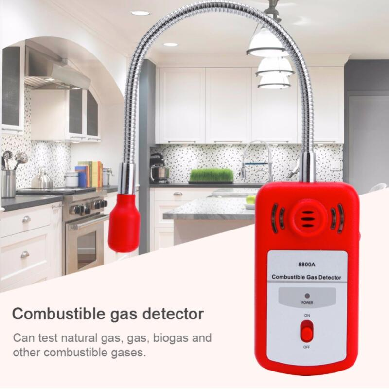 8800A Sensitive Useful Gas Analyzer Combustible Gas Detector Portable Gas Leak Location Determine Tester with Sound-light Alarm newest gas detector gas alarm combustible gas leak detector adjustable sound light alarm tester for home office security