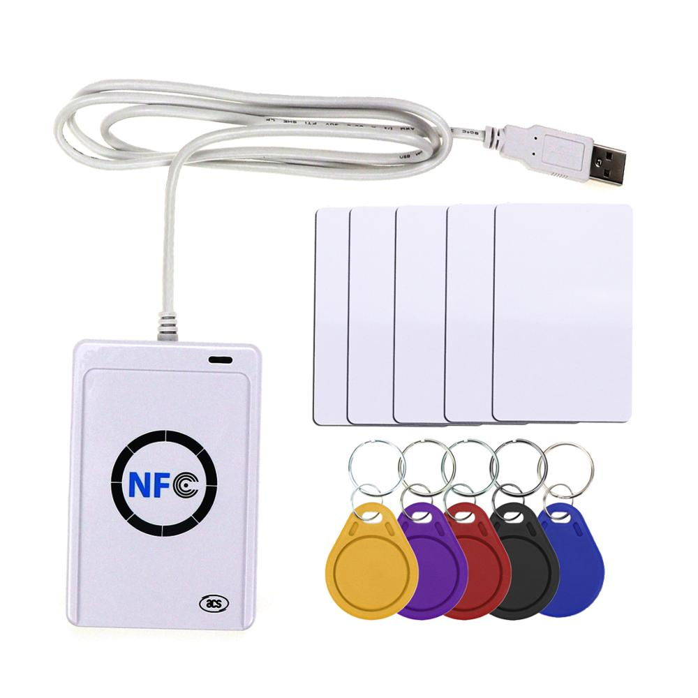 NFC Reader USB ACR122U Contactless Smart Ic Card And Writer Rfid Copier Copier Duplicator 5pcs UID Changeable Tag Card Key Fob