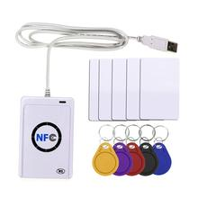 Nfc leitor usb acr122u, sem contato, cartão ic inteligente e gravador rfid, copiadora, duplicador, 5 peças, uid, cartão de etiquetas alteráveis chave fob