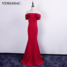 VENSANAC 2018 Ruffles Boat Neck Short Sleeve Long Mermaid Evening Dresses Party Embroidery Backless Prom Gowns