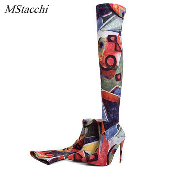 Mstacchi 2018 Hot Selling Women Colorfur Stretch Boots Over The Knee Long Boots Pointed Toe Thin High Shoes Woman Fashion Shoes