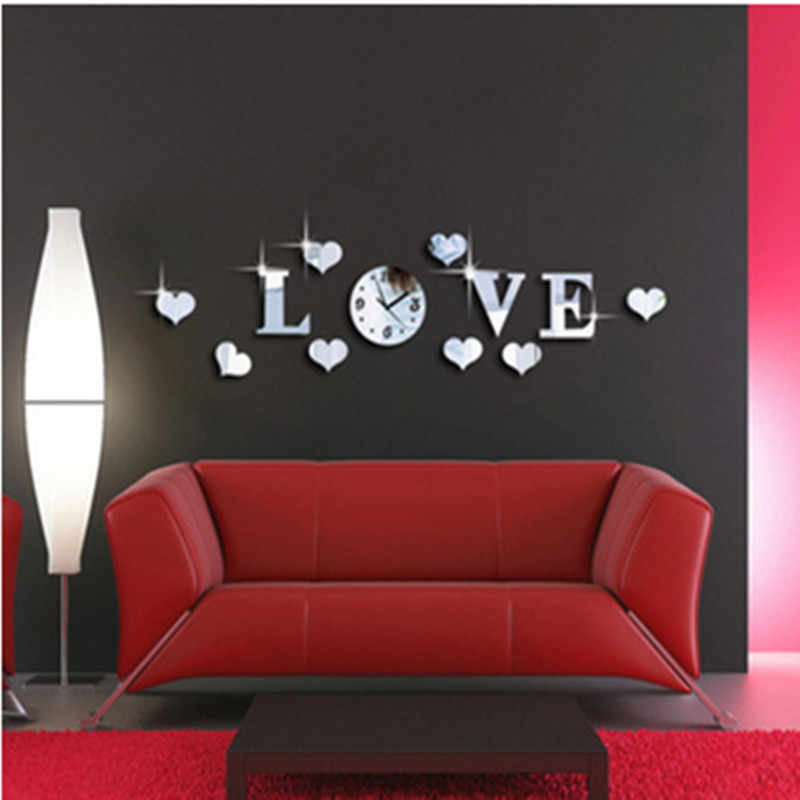 2016 3 D love acrylic crystal clock interesting diy clock with digital wall clock brief soothe the best home decoration gifts