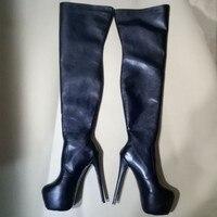 SHOFOO/обувь; Элегантная модная обувь; Бесплатная доставка; искусственная кожа; сапоги на высоком каблуке 18 см; Сапоги выше колена; сапоги с оче