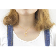 Stainless Steel Chain Gold Rose Flower Charm Necklace