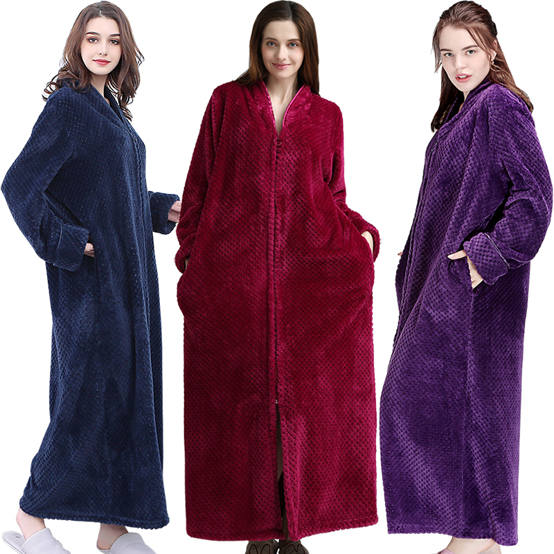 Women Extra Long Plus Size Thick Warm   Sleepshirts   Men Winter Coral Fleece Zipper   Nightgowns   Pregnant Robe Flannel Night Dress