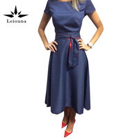 Leiouna 2017 Summer New Height Waist Pritting Short Sleeve 3 Colour Party Dresses Vestido Vintage Woman