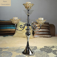 New Classical Crystal Glass and Metal Candelabra Candle Stand Decorative Craftwork Embellishment Ornament Accessories Furnishing
