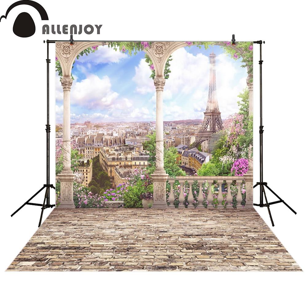Allenjoy photography backdrop Paris Eiffel Tower blue sky sunshine balcony photo studio props photobooth photocall blue sky чаша северный олень