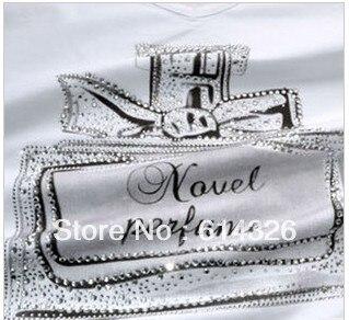 2015 New Fashion V-neck Scent-bottle Print Women's T shirt Summer Autumn Slim Cotton Tops tees Plus Size T-shirts DH2045