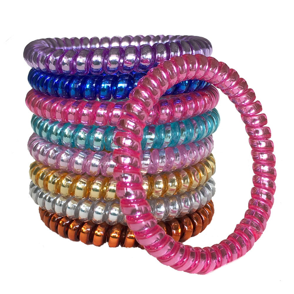6pcs/lot Elastic Colorful Telephone Wire Cord Hair Band Ties Band Rope Bobbles Women Girls Headwear Hair Accessories