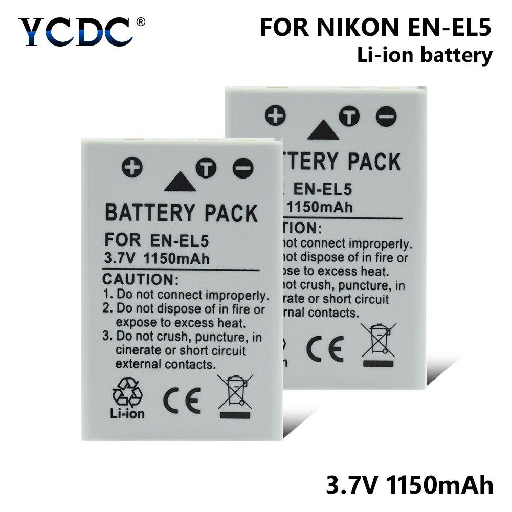 1/2 Pcs 3.7V EN-EL5 1150mAh Li-ion Lithium Battery For Nikon Coolpix P4 P5000 P5100 P6000 P80 P90 P100 P500 P510 P520 P530 S10