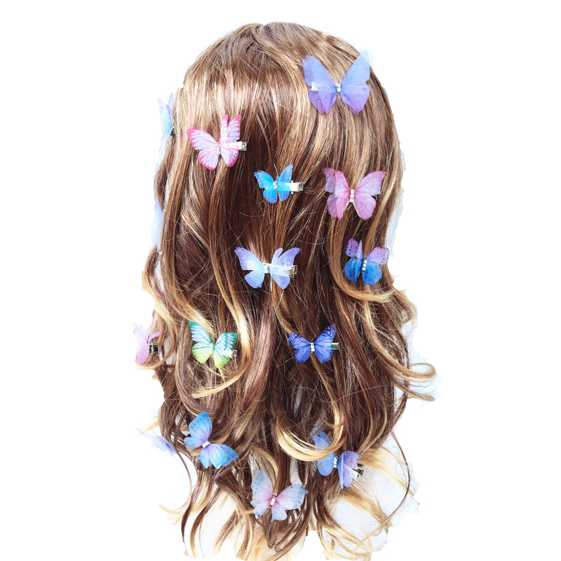 Beautiful Rhinestones Double Layers Tulle Butterfly Hair Clip For Women Girls Hairpin Gauze Butterfly Hair Accessories Ornaments