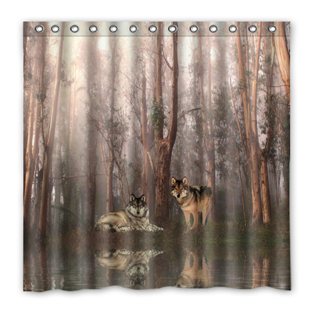 Luxury Smart Shower Curtains Tree Wolf Forest Fog Custom Design Creative Curtain Bathroom Waterproof Polyester