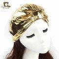 Женская мода Повязка Золото Цвет Бандана Тюрбан Девушки Хиджаб Волосы Группа Твист Turbante Шляпа Аксессуары Для Волос