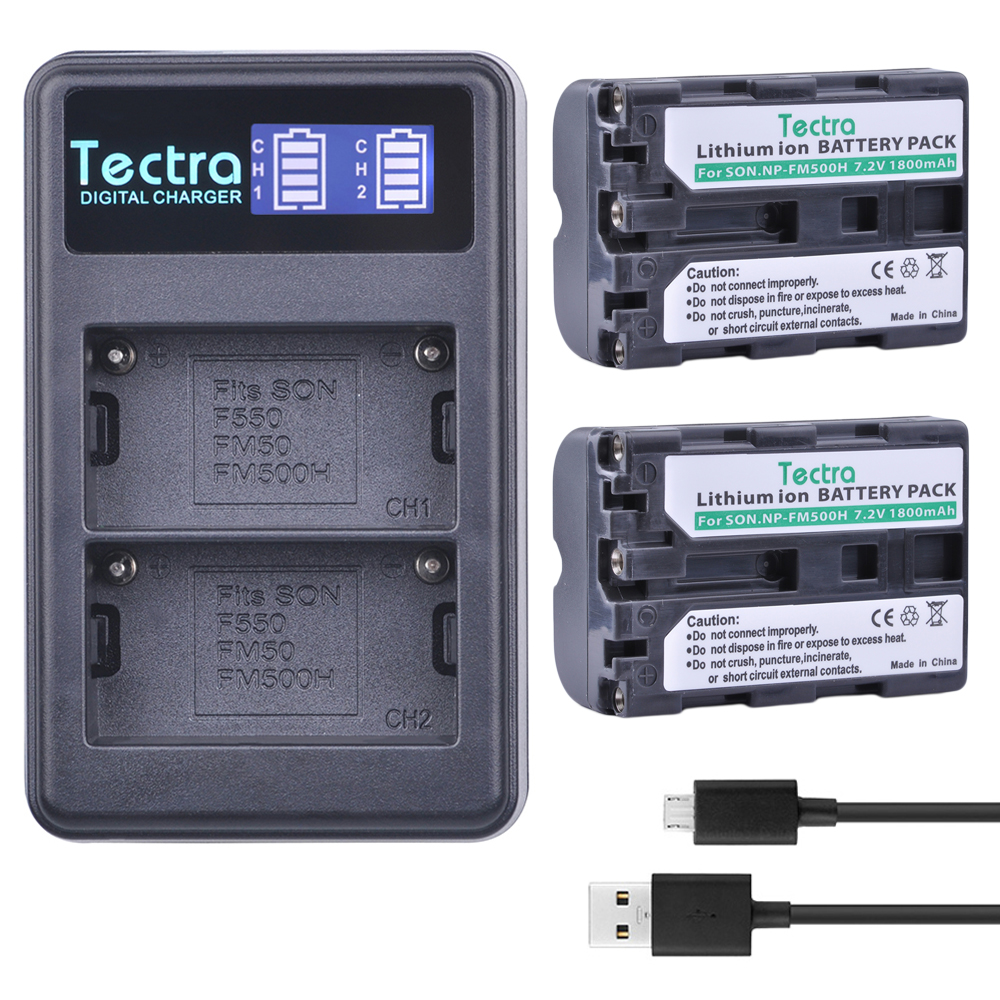 Tectra 2PCS NP FM500H Li ion Camera Battery LCD USB Dual Charger for Sony A57 A65