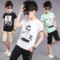 Прохладный Мальчики Устанавливает Высокое Качество 3-16лет Дети Повседневная Одежда Устанавливает О-Образным Вырезом Короткие футболки + Брюки Красивый дети Набор