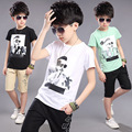 Cool Boys Sets High Quality 3-16Years Old Children Casual Summer Clothing Sets O-Neck Short T-shirt+ Trousers Nice Children Set