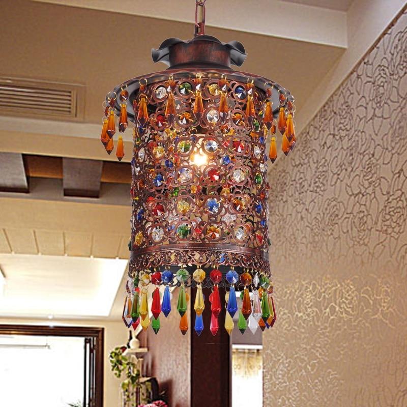 turkish Bohemia Mediterranean restaurant bedroom lamp retro multicolor bronze wrought iron pendant lamp a229
