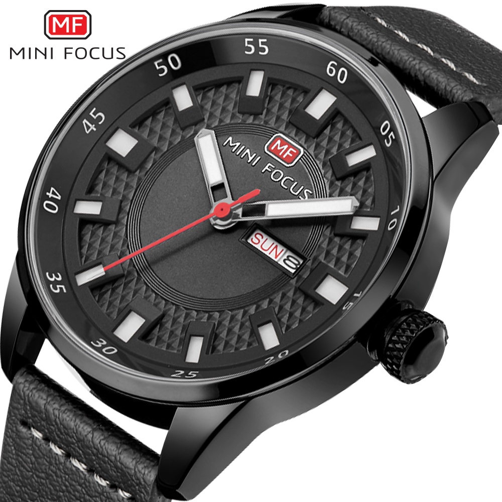 MINI FOCUS Military Sport Watch Men Quartz Black Dial Genuine Leather Strap Week Date Display Fashion Boyfriend Wrist Watches fashion black turntable rectangle dial quartz sport wrist watch black pu leather boy men creative digital watches