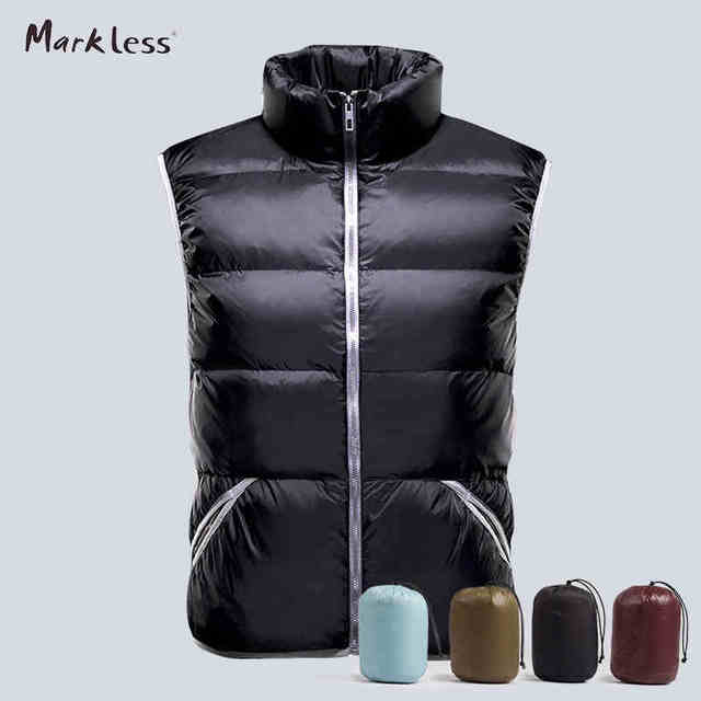 Markeless 2016 Slim Mens Down Vest 90% White Duck Down Vest For Man Autumn And Winter Outerwear Coats Vest Down Brand Clothing
