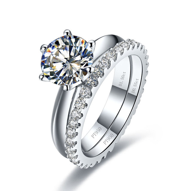 Valentine Gift Solid 18k 750 White Gold Ring Set 1ct Fine Diamond Engagement Best Wedding