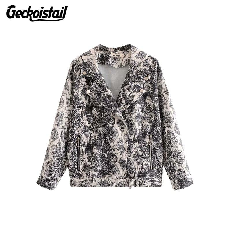 Geckoistail Women Fashion Snake Print   Basic     Jacket   Coat 2018 Autumn Long Sleeve Zip V-Neck Female   Jackets   Outerwear Clothing