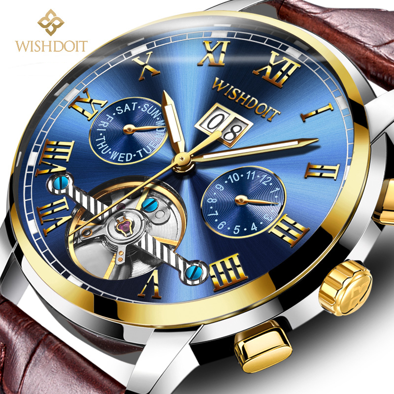 Watches men's Top Brand Luxury Automatic Mechanical Watch Men leather Business Waterproof Sport men Watches Relogio Masculino unique smooth case pocket watch mechanical automatic watches with pendant chain necklace men women gift relogio de bolso