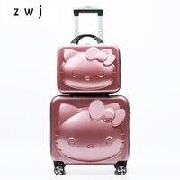 3D Kitty cartoon 14 18 inch size Children Rolling Luggage Kid Handbag Spinner Travel Suitcase girls' gift