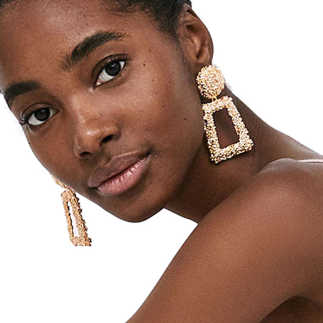 Go 2018 New Design Za Punk Style Metal Geometric Maxi Statement Earrings Jewelry Charm Drop