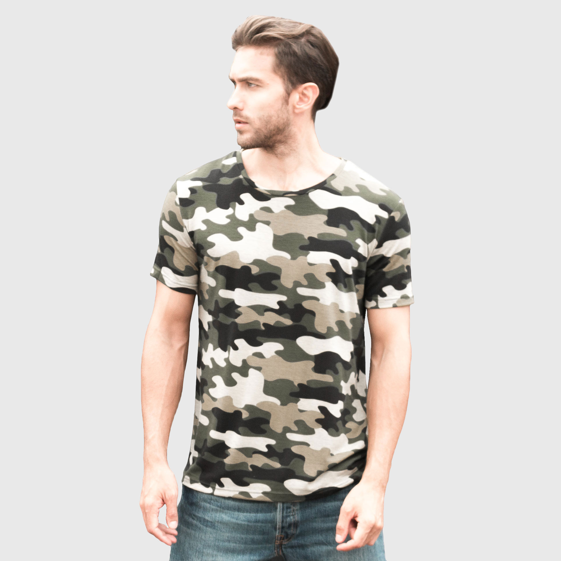 Camouflage T-Shirt Men Army Military T Shirt Fitness Top Tees Male Cool Short Sleeve Camo O Neck Green Casual