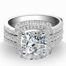 Queen brilliance роскошный новый & hot 3 карат подушка cut набор для новобрачных свадьба обручальные кольца набор для женщин