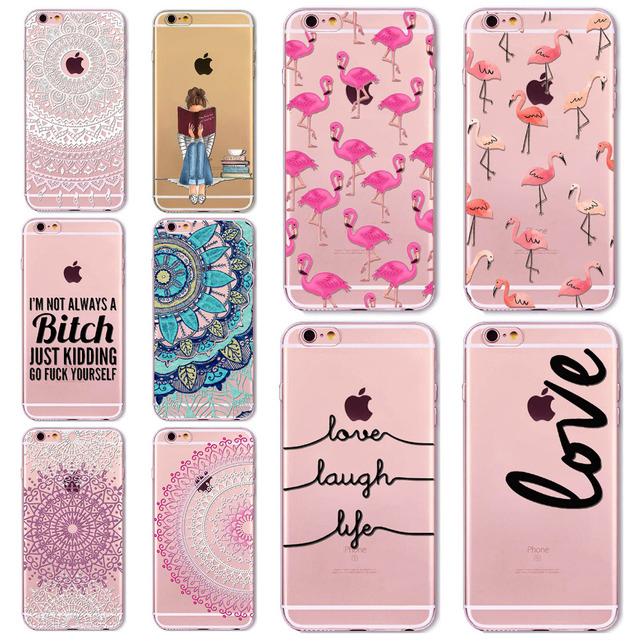 7 6s Animals Transparent Case For Iphone 7 6 6s Floral Paisley Love Words Phone Cover TPU Silicone Fundas Cases