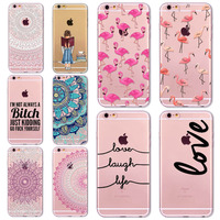 7 6s Animals Transparent Case For Iphone 7 8 6 6s Floral Paisley Grils Flamingo Love Words Phone Cover TPU Silicone Fundas Cases