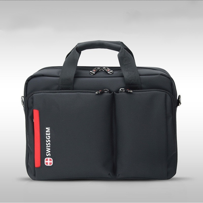 ФОТО Quality Swiss Briefcase Man Woman Laptop Bag Carrying Case Nylon Light Canvas College Black Classic Large Waterproof