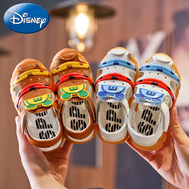 Disney 2019 Mickey Summer Kids Boys Shoes Sandals Closed Toe Toddler Casual Sandal Beach Sport Soft Pu Baby Girl Shoes Non-slip