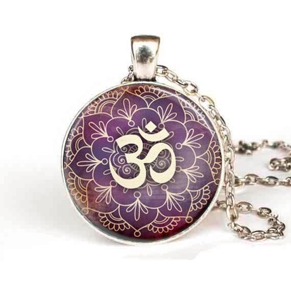 Steampunk om necklace yoga jewelry purple lotus flower om symbol steampunk om necklace yoga jewelry purple lotus flower om symbol buddhism zen art pendant chain jewelry new mens women in pendants from jewelry mightylinksfo