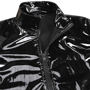 Image 4 - New Long Sleeve Patent Leather Men Shiny Metallic Front Zip Stand Collar Tops Wet Look Nightclub Style Jackets Party Costumes