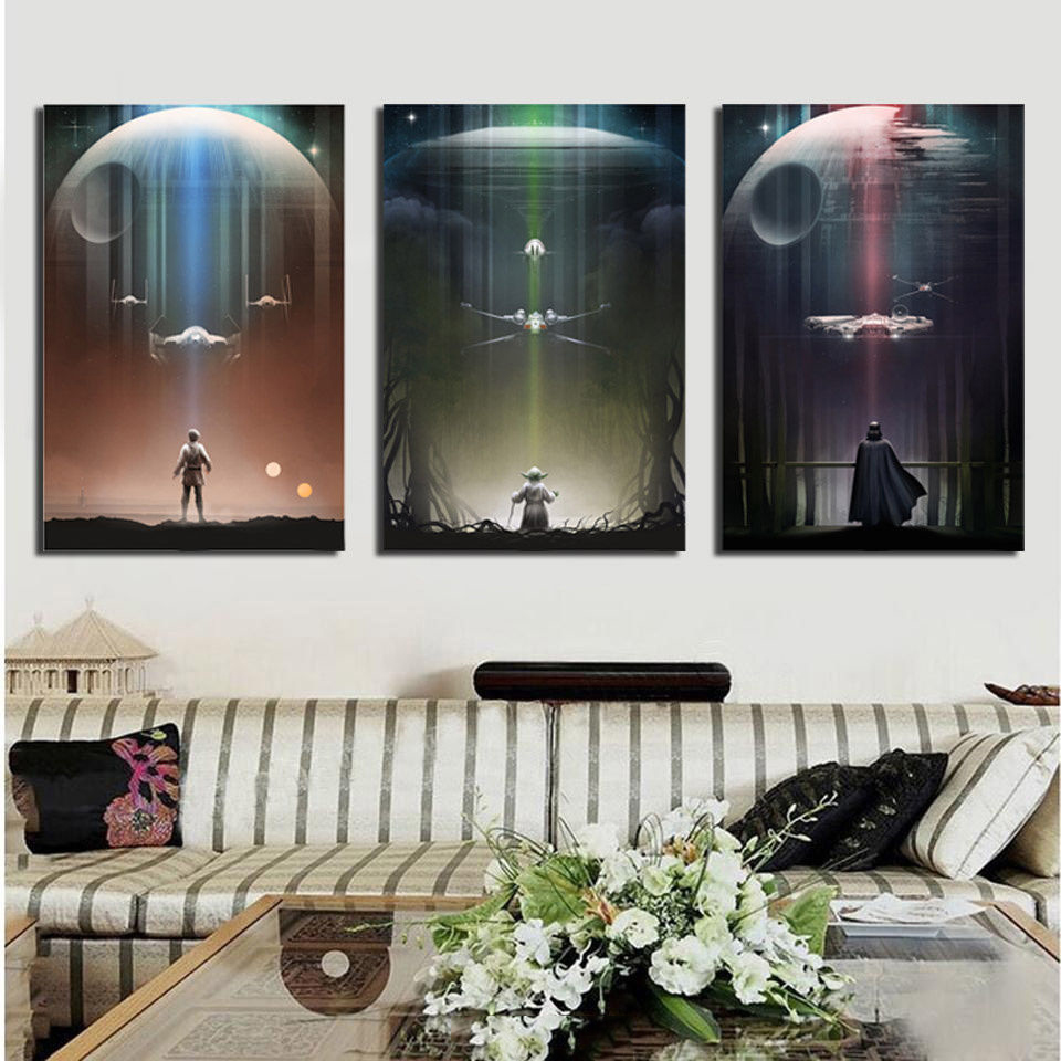 Canvas Home Decoration Framework Wall Art Painting Poster 3 Panel Movie Star Wars For Living Room