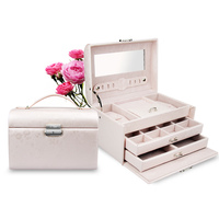 PU Leather Jewelry Box Home Three Layer Necklace Storage Organizer European Style Fashion Jewelry Container Women Wedding Gift