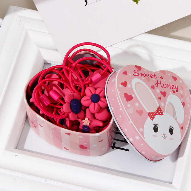 Cute Cartoon Elastic Hair Bands in a gift box (20pcs)