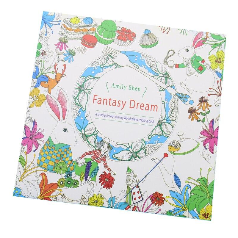 24 sayfa Fantezi Rüya İngilizce Baskı Boyama Kitabı Çocuk Yetişkin Stres Rahatlatmak Öldür Zaman Boyama çizim kitabı