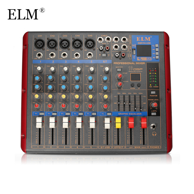 ELM Karaoke Audio Mixer Amplifier Professional Stage Digital Microphone Sound Mixing Console Bluetooth 6 Channel With USB 48V