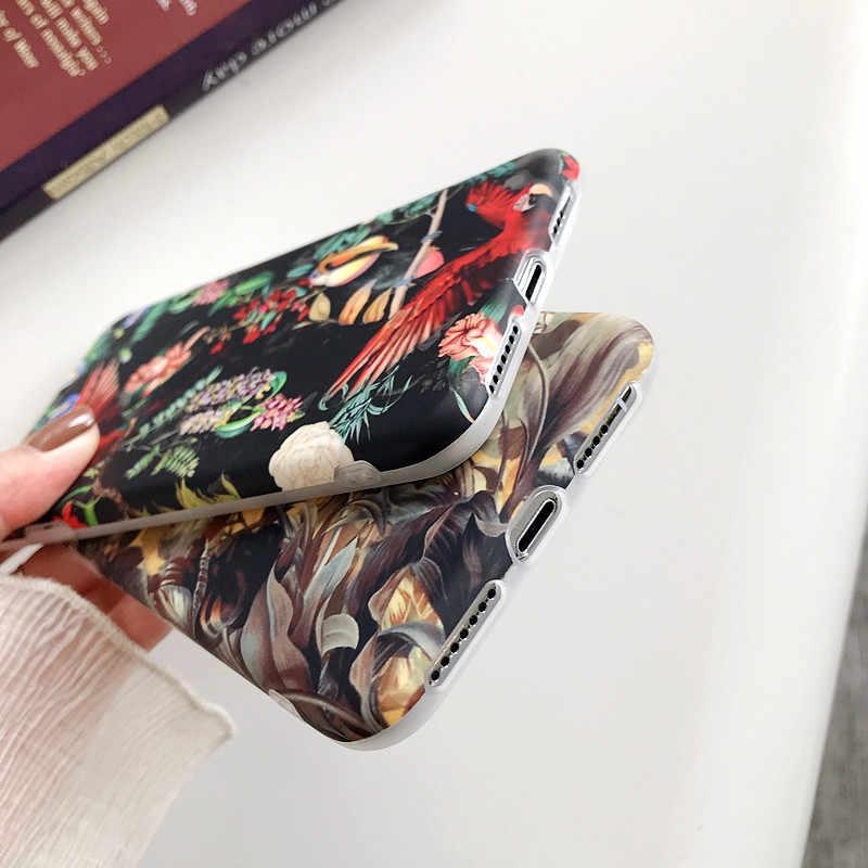 Manque rétro coloré fleurs coque de téléphone pour iphone XR XS Max X 6 6S 7 8 Plus 11 11Pro Max feuille mat doux Art floral couverture arrière