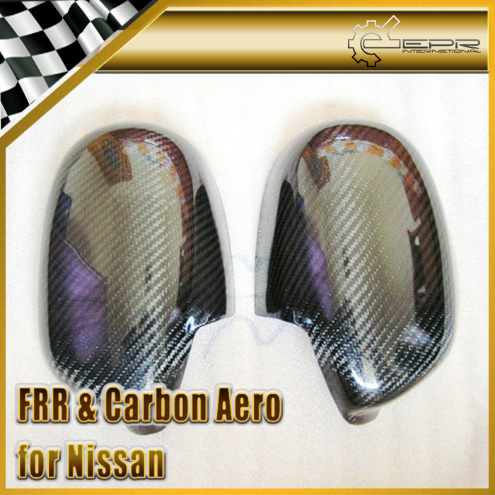 EPR Car Styling For Nissan S15 Silvia Carbon Fiber Mirror Cover Glossy Fibre Finish Exterior Side Accessories Racing Trim epr car styling for mazda rx7 fc3s carbon fiber triangle glossy fibre interior side accessories racing trim
