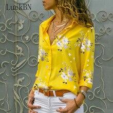 Women's Clothing Shirt 2019 Summer Floral Love Print Long Sleeve V-neck Shirts Female Top Blouses Chemisier White Blusas Blue